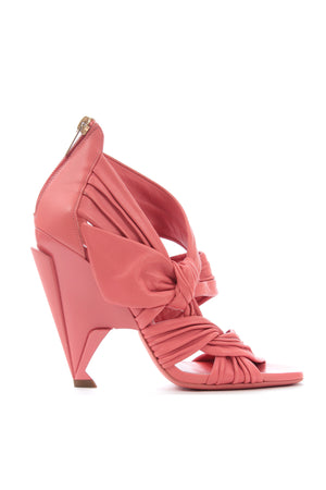 Jimmy Choo Kyle 110 Knotted Pleated Leather Sandals