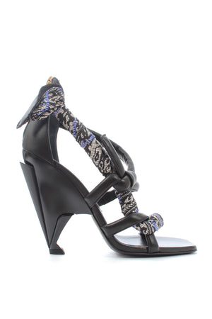 Jimmy Choo Kalypso 110 Leather and Silk Print Sandals