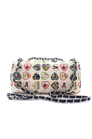 Chanel Heart Print Valentine Canvas Timeless Flap Bag