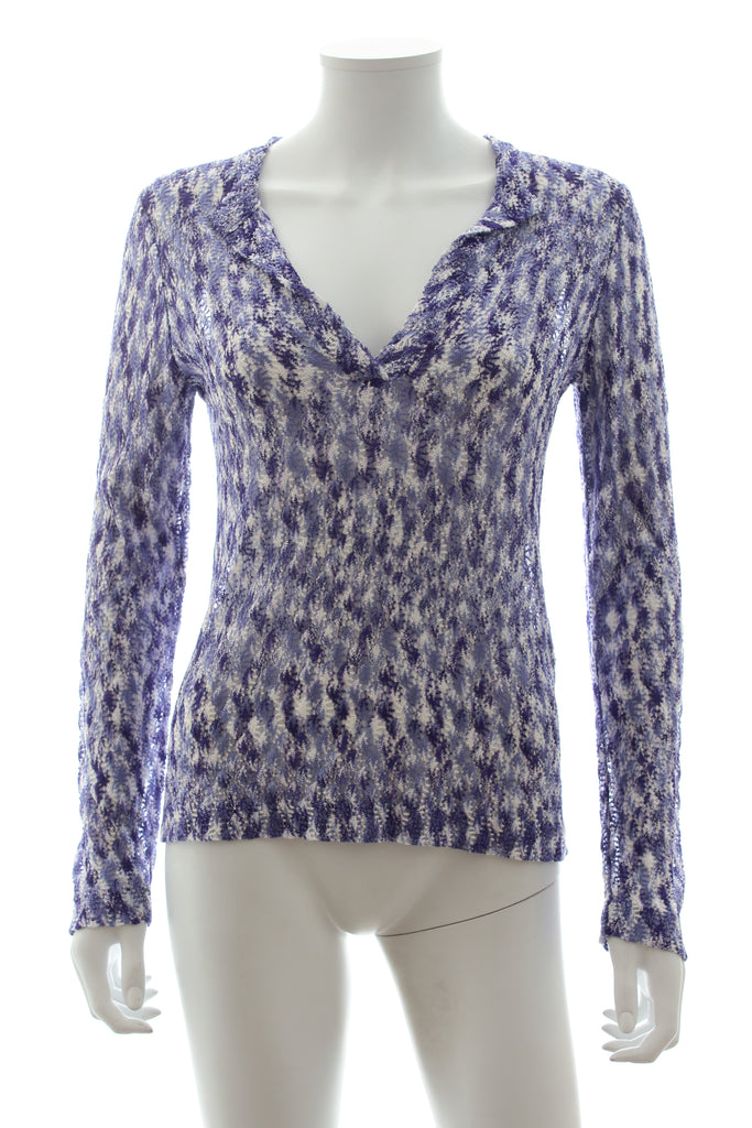 Missoni Crochet-Knit Long Sleeved Top