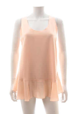 Chloé Silk Fluted-Hem Sleeveless Top