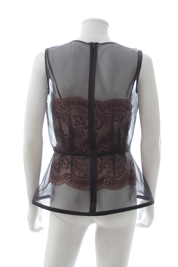 Stella McCartney Organza-Overlay Bustier Top