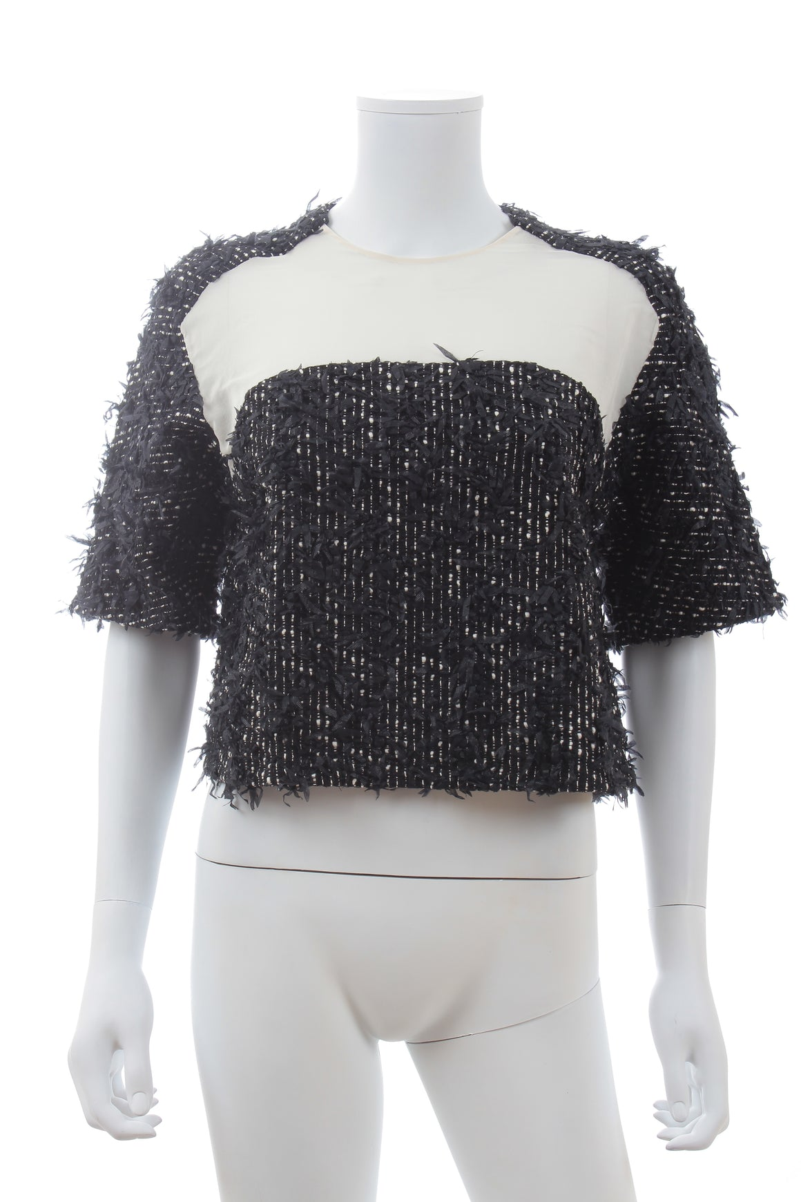 3.1 Phillip Lim Silk-Panelled Textured Tweed Top