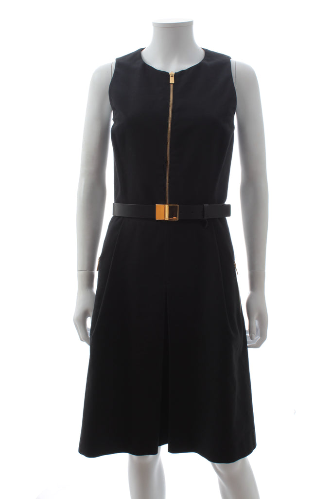 Michael Kors Collection Exposed Zip Belted Cotton Dress