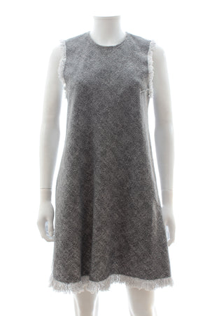 T by Alexander Wang Fringed Textured Cotton Dress