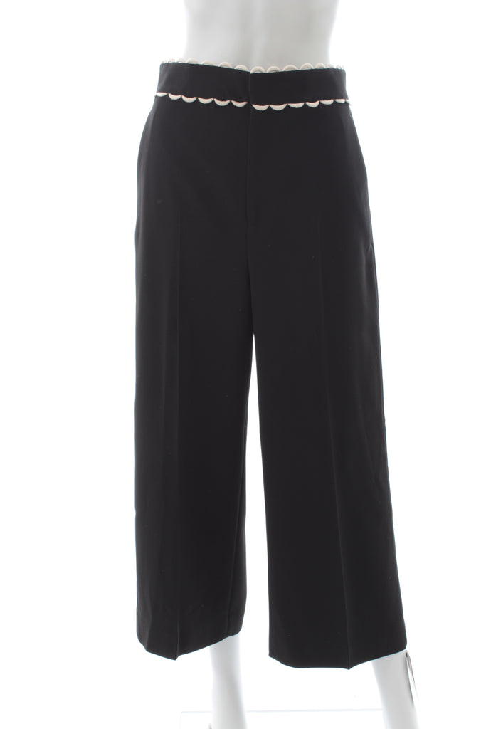 Red Valentino Scallop Embroidered Frisottine Cropped Trousers