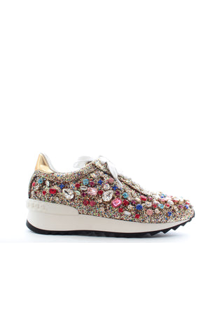 Casadei Crystal Embellished Glitter Rainbow Sneakers