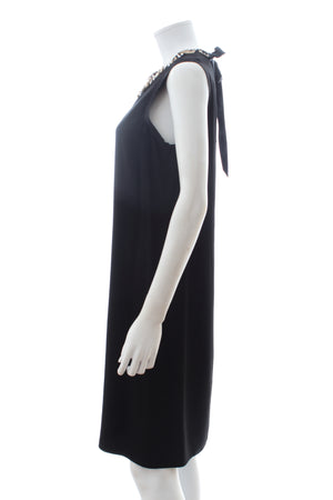 Lanvin Embellished Neck Sleeveless Shift Dress
