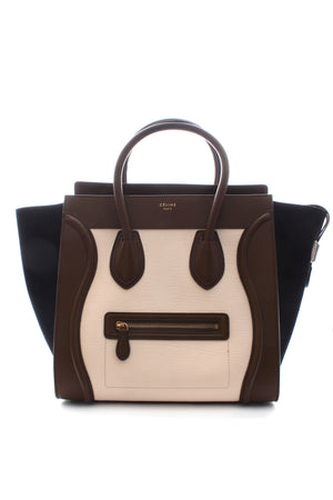 Celine Mini Luggage Bag in Tri-Colour Calfskin and Suede
