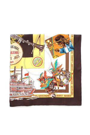 Hermes 'New Orleans Creole Jazz' by Loic Dubigeon Silk Scarf