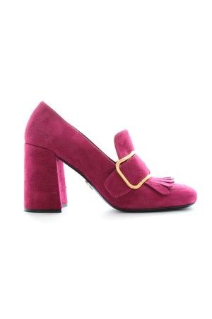 Prada Fringed Suede Buckle-Detailed Pumps