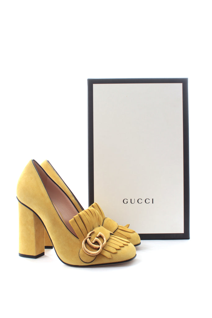 493d77f84 Gucci Marmont Fringed Suede Loafer Pumps – Closet Upgrade