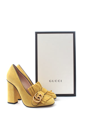 Gucci Marmont Fringed Suede Loafer Pumps
