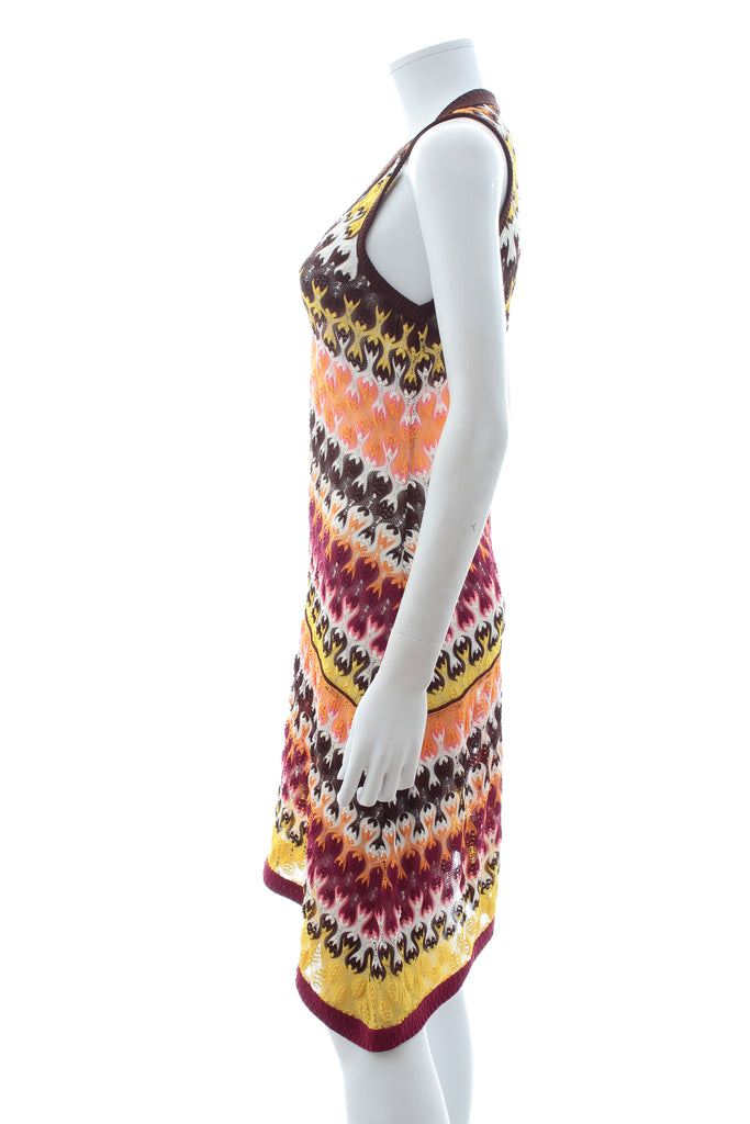 Missoni Sleeveless Asymmetric Crochet-Knit Dress