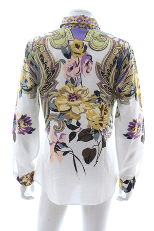 Etro Floral-Paisley Print Cotton-Blend Shirt