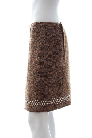 Miu Miu Stud-Embellished Wool-Mohair Blend Skirt