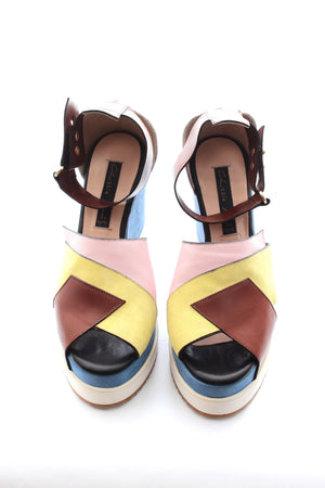 Chrissie Morris 'Isla' Colour-Block Leather and Suede Wedge Sandals