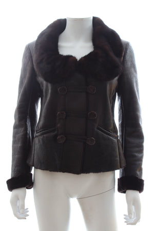 Prada Mink Fur Trimmed Sheepskin Leather Jacket