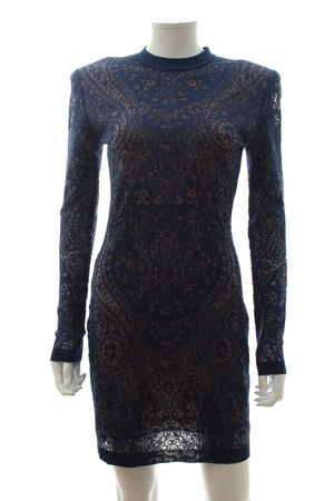 Balmain Laser Cut Lace Knit Dress