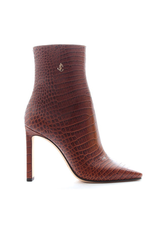 Jimmy Choo Minori 100 Croc-Embossed Leather Boots - Current Season