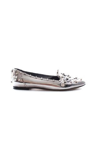 Dolce & Gabbana Studded Crystal Embellished Metallic Leather Loafers