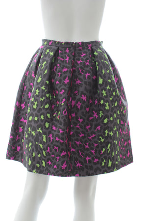 Christopher Kane Leopard-Jacquard Silk Skirt