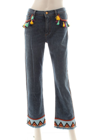 Etro Jeans with Tassels and Embroidery