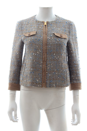 Miu Miu Tweed Zip-Front Jacket