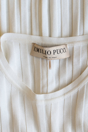 Emilio Pucci Faux Pearl Trim Rib Knit Dress