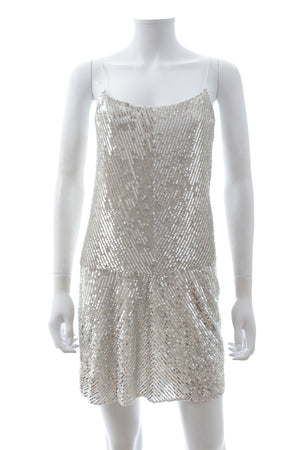 Joseph Sequin-Embellished Silk Shift Dress
