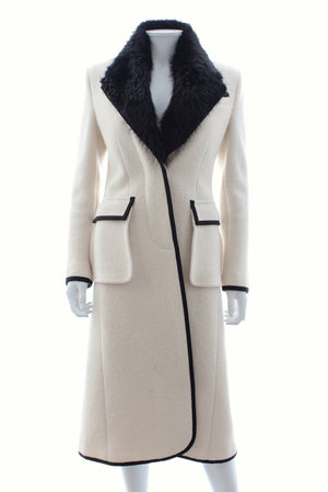 Thom Browne Beaver Fur-Trimmed Wool Tailored Long Coat
