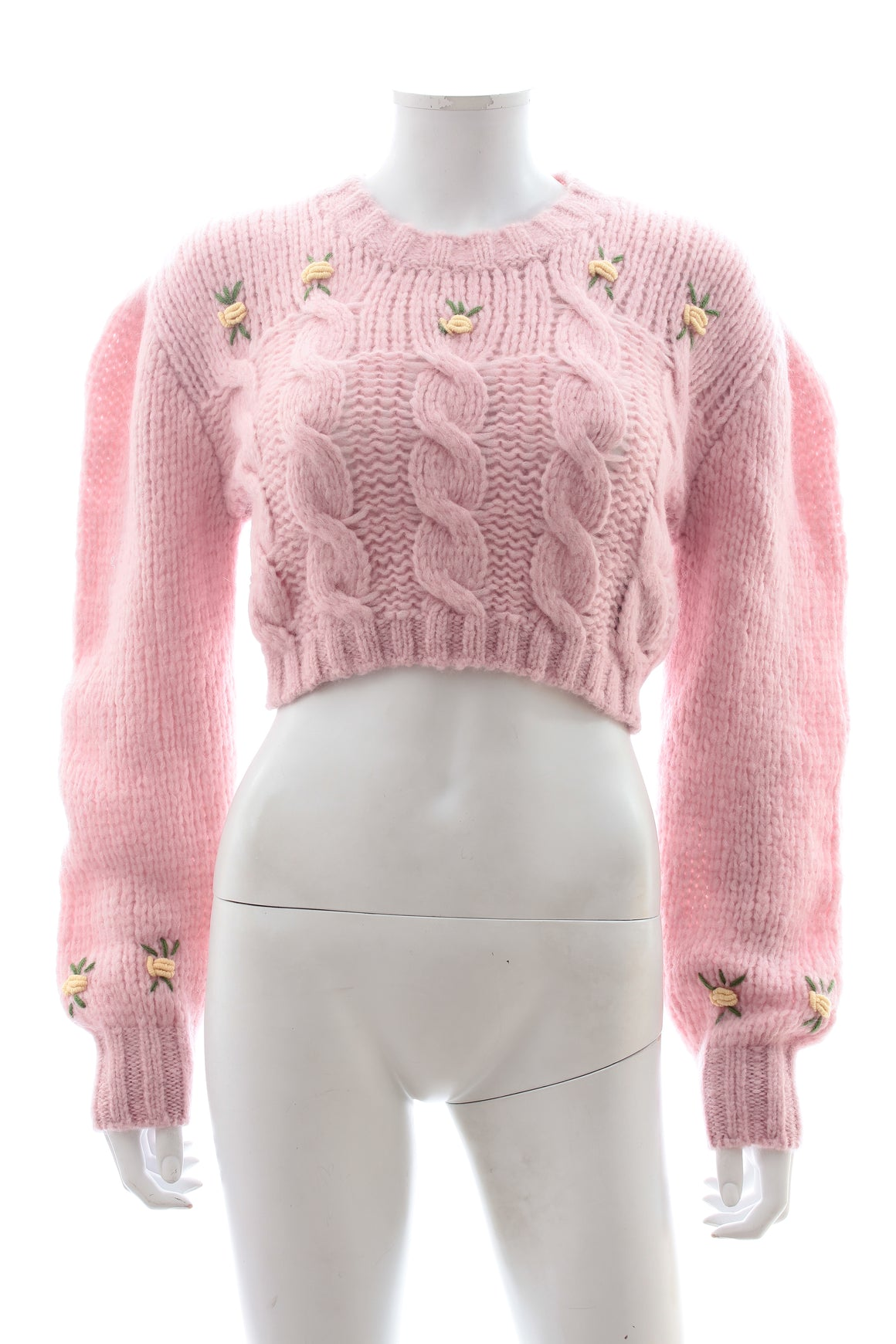 Alessandra Rich Cropped Floral-Embroidered Alpaca and Wool-Blend Sweater - Fall '19 Runway Collection