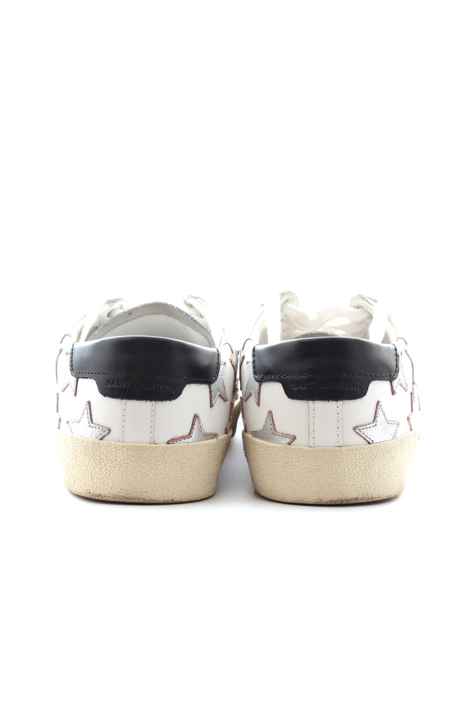 Saint Laurent Court Classic Metallic Star-Appliquéd Leather Sneakers