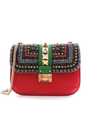 Valentino Glam Lock Crystal-Embellished Leather Shoulder Bag