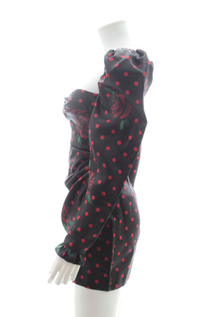Alessandra Rich Puff-Sleeve Rose Polka Dot Print Silk Dress