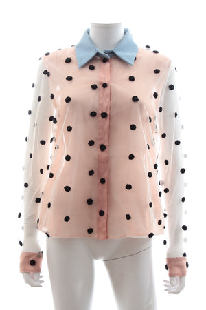 Natasha Zinko Dot-Embroidered Mesh Shirt