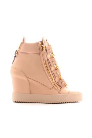 Giuseppe Zanotti Chain-Detail Leather Wedge Hi-Top Sneakers