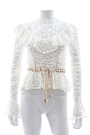 Zimmermann Allia Shell-Belted Crochet Top