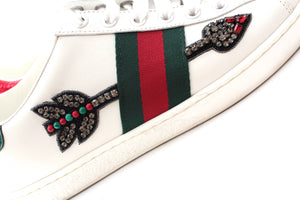 Gucci Ace Arrow Embellished Leather Sneakers