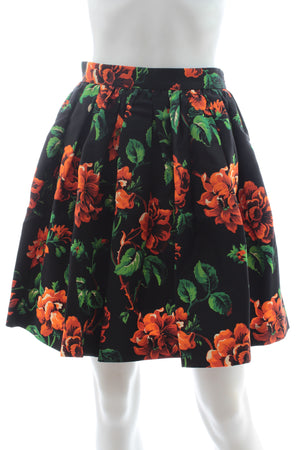 Miu Miu Floral-Print Silk-Faille Mini Skirt