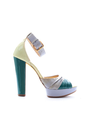 Miu Miu Colour Block Patent Leather Platform Sandals