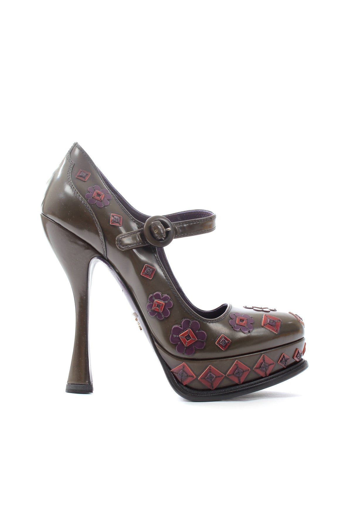 Prada Flower-Detailed Mary-Jane Platform Pumps