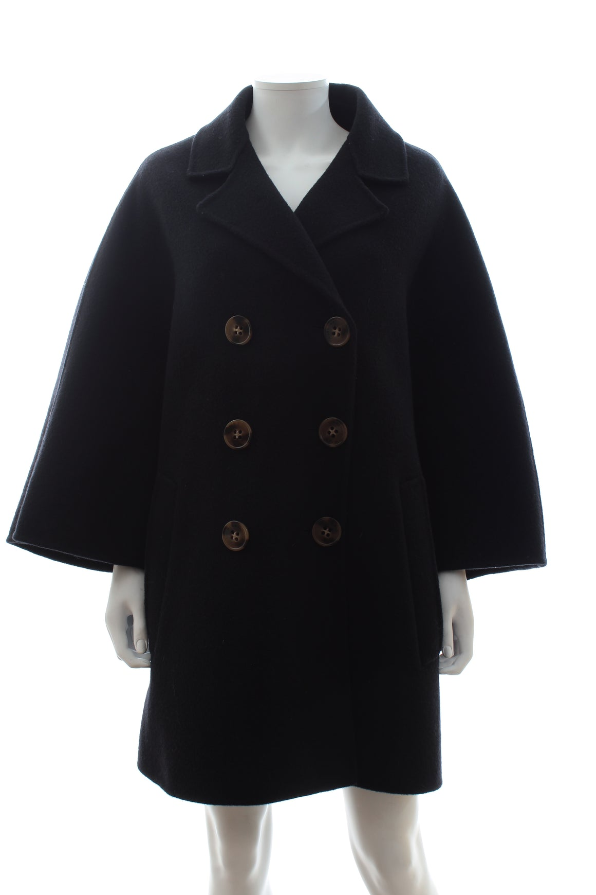 Burberry Prorsum Oversized Wool Felt Black Coat