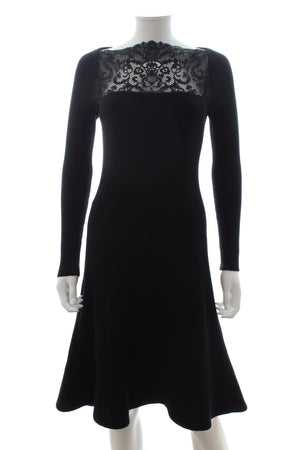 Valentino Lace Trim Ribbed Wool Dress