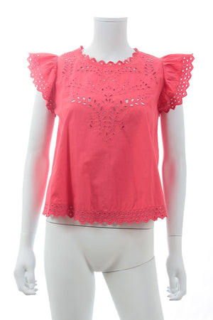 Isabel Marant Étoile 'Salvia' Broderie Anglaise Cotton Top