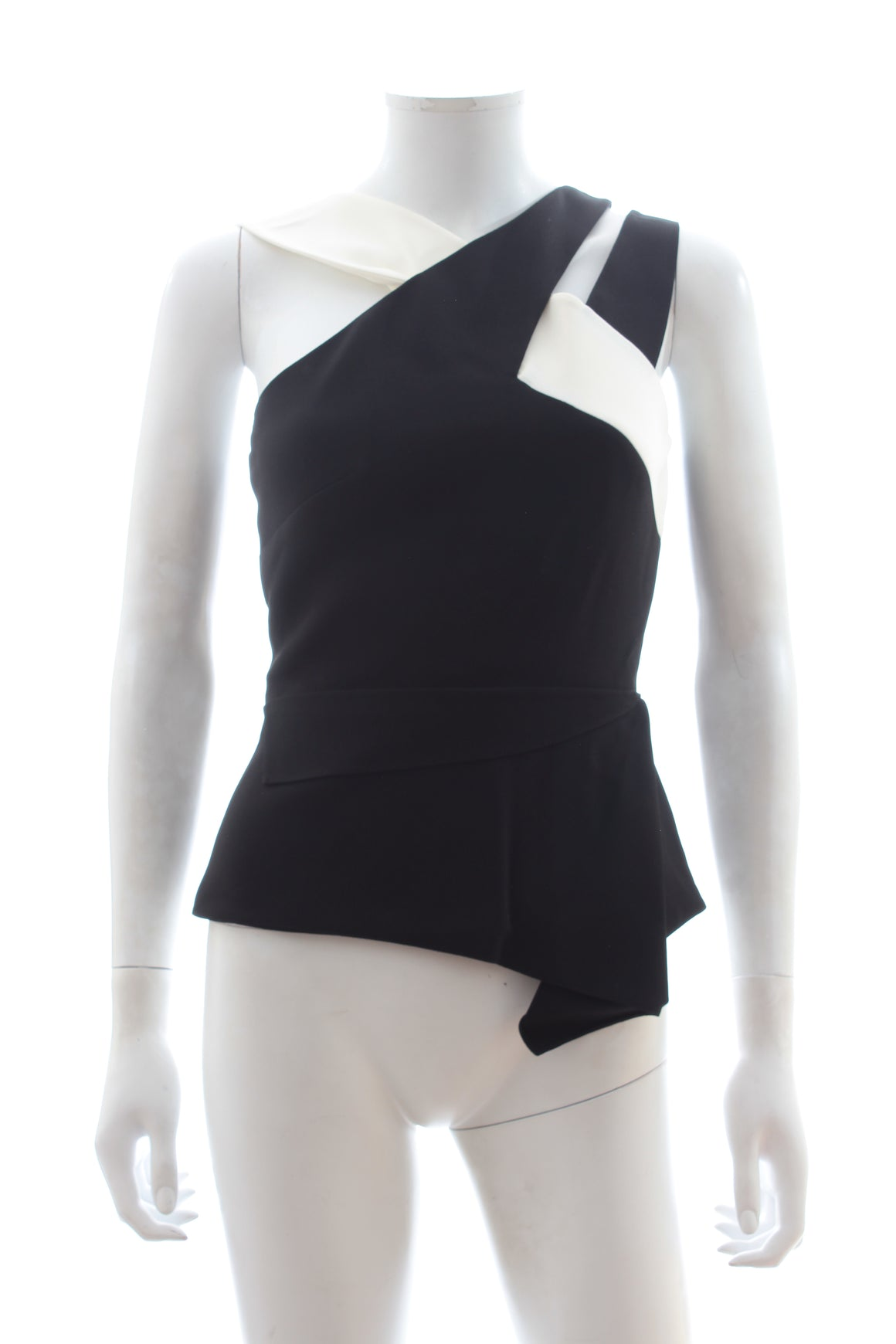 Roland Mouret Thornhill Two-Tone Stretch-Crepe Top