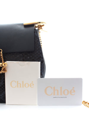 Chloé Drew Python and Calfskin Shoulder Bag