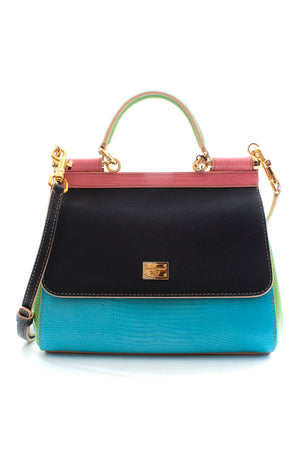 Dolce & Gabbana Sicily Lizard-Embossed Leather Colour-Block Bag - Limited Edition