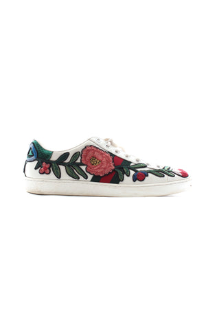 Gucci Ace Watersnake-Trimmed Floral Appliquéd Leather Sneakers