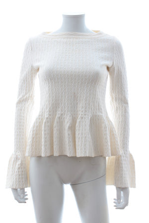 Alaia Wool-Stretch Peplum Knit Top